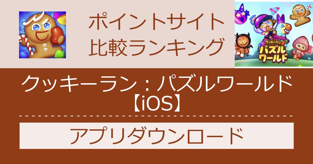 ポイントサイトの比較ランキング。パズルゲーム「クッキーラン:パズルワールド【iOS】」をポイントサイト経由でダウンロードしたときにもらえるポイント数で、ポイントサイトをランキング。