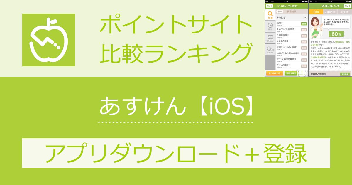 ポイントサイトの比較ランキング。ダイエットアプリ「あすけん【iOS】」をポイントサイト経由でダウンロード・登録したときにもらえるポイント数で、ポイントサイトをランキング。